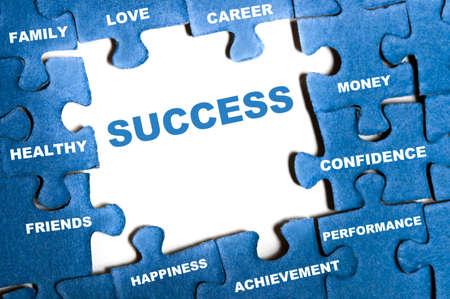 Success blue puzzle pieces assembled Stock Photo - 9628592