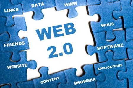 Web 2.0 blue puzzle pieces assembled Stock Photo - 9628582