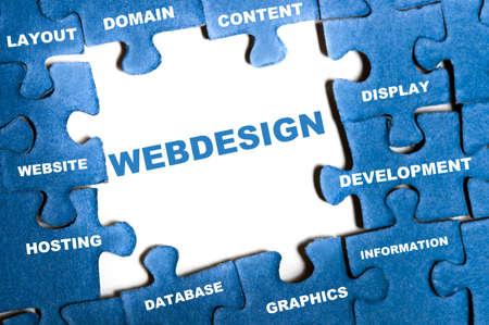 Webdesign blue puzzle pieces assembled Stock Photo - 9628591