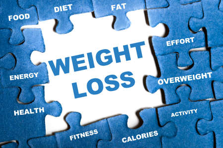 Weight loss blue puzzle pieces assembled Stock Photo - 9628777