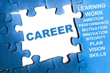 Career blue puzzle pieces assembled Stock Photo - 9628594
