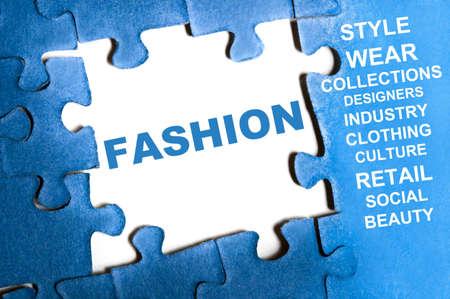 Fashion blue puzzle pieces assembled Stock Photo - 9628552