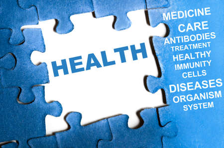 Health blue puzzle pieces assembled Stock Photo - 9628581