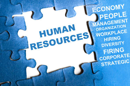 Human resource blue puzzle pieces assembled Stock Photo - 9628791