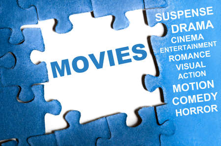 Movies blue puzzle pieces assembled Stock Photo - 9628595