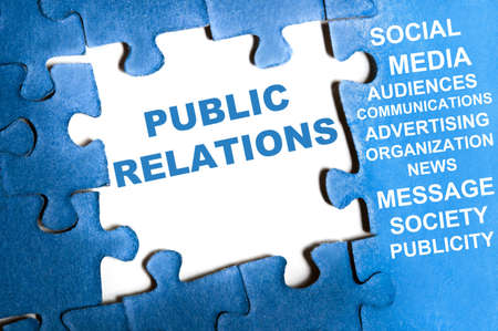 Public relations blue puzzle pieces assembled