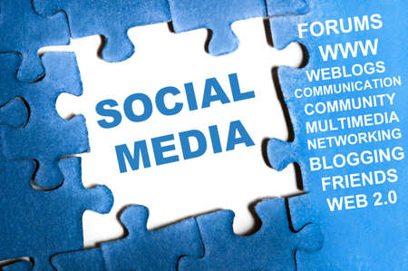 Social media blue puzzle pieces assembled Stock Photo - 9628789