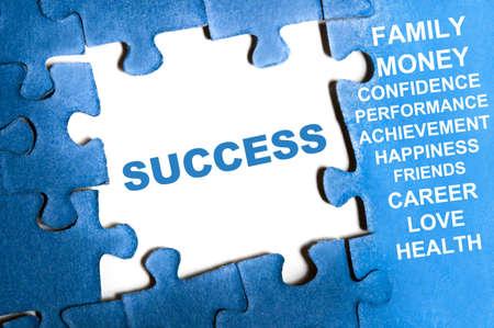 Success blue puzzle pieces assembled Stock Photo - 9628775