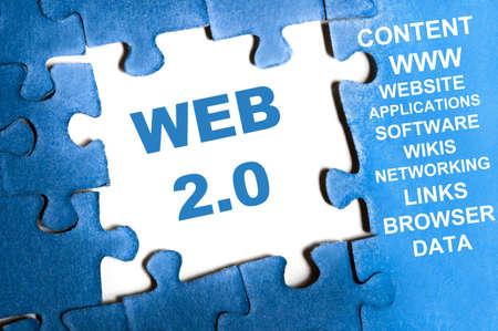 Web 2.0 blue puzzle pieces assembled Stock Photo - 9628774