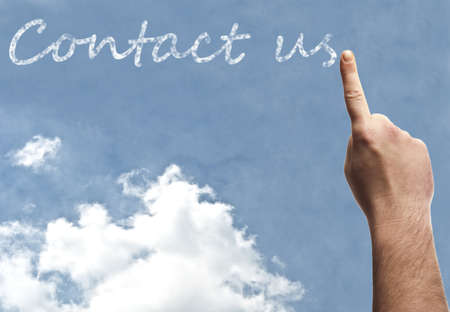 Contact us word on blue sky Stock Photo - 9628357