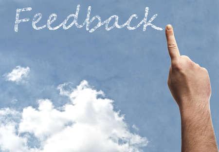 questionnaires: Feedback word on blue sky