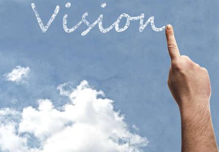 vision future: Visie woord op de blauwe hemel