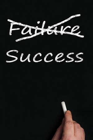 Failure and success write on black board photo