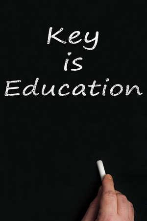 Key is education write on black board Stock Photo - 9628251