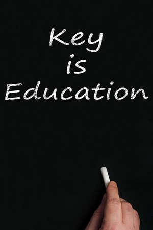 Key is education write on black board Stock Photo - 9628251