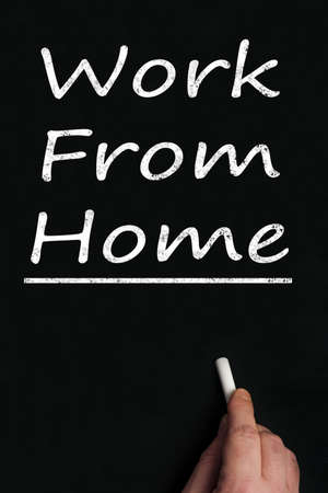 Work from home write on black board Stock Photo - 9628352