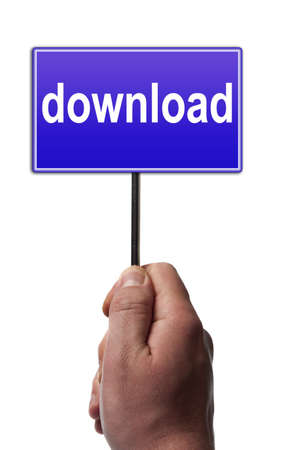 advertising network: Download message in male hand