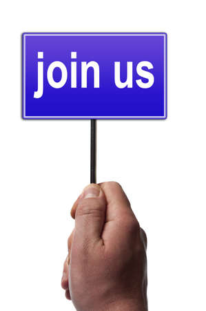 Join us message in male hand Stock Photo - 9627785