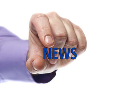 News word in male hand photo