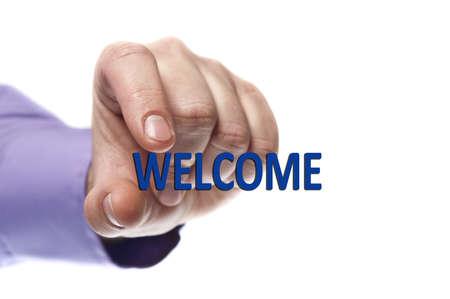 Welcome word in male hand Stock Photo - 9627775