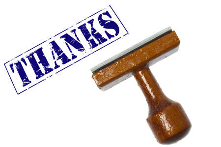 Thanks stamp on white background photo