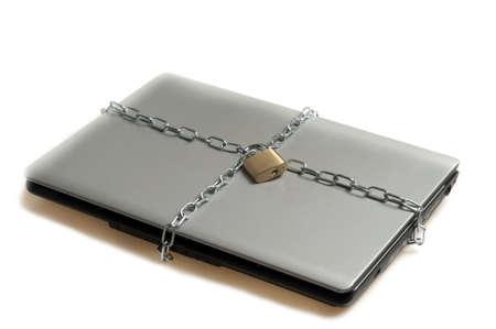 Laptop locked on white background Stock Photo - 9645751
