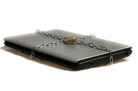 Laptop locked on white background Stock Photo - 9645519