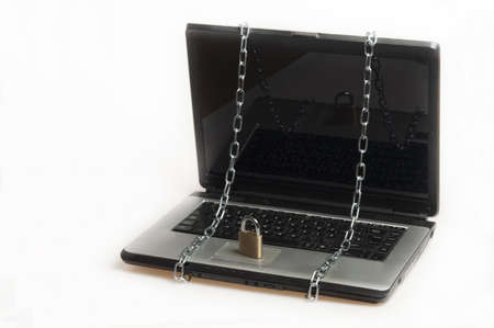 Laptop locked on white background Stock Photo - 9645750