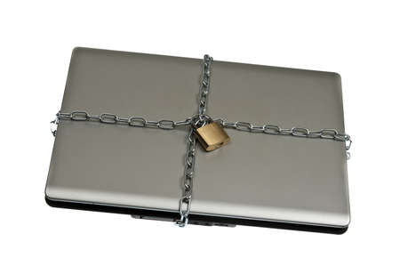 Laptop locked on white background Stock Photo - 9645810