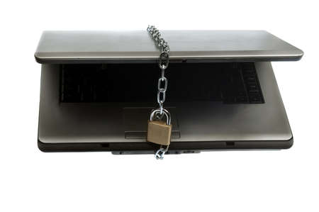 Laptop locked on white background Stock Photo - 9645618