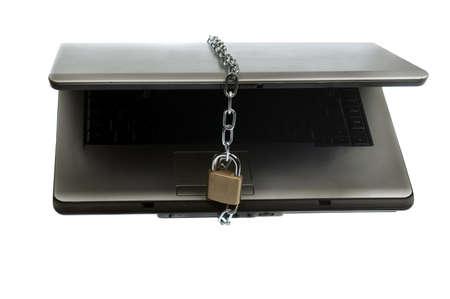 Laptop locked on white background Stock Photo - 9645618