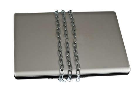 Laptop locked on white background photo