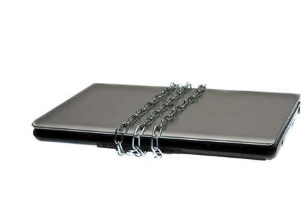 Laptop locked on white background Stock Photo - 9645516