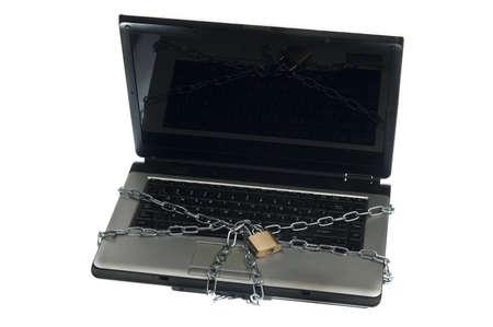 Laptop locked on white background Stock Photo - 9645782