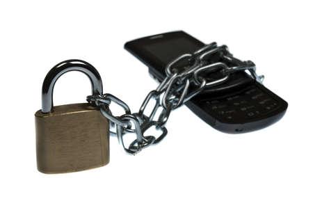 unaccessible: Phone locked on white background
