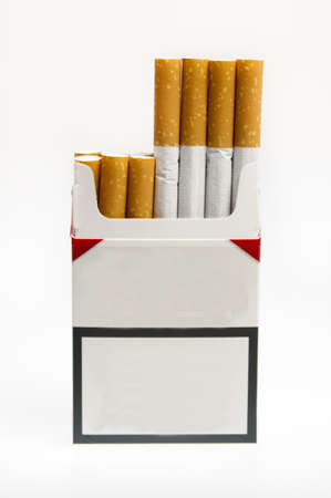 Cigarette pack on white background photo