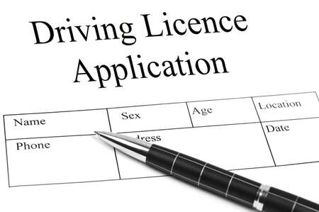 licence: Driving Licence Application and an pen