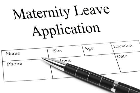 maternity leave: Maternity Leave Application and an pen
