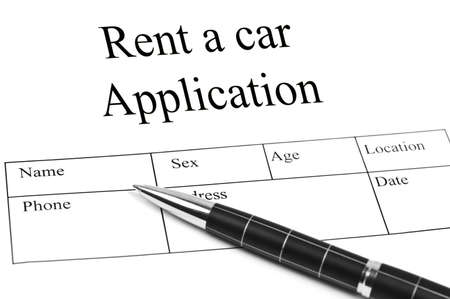 Rent a car Application and an pen photo