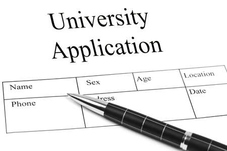 university application: Univeristy Application and an pen Stock Photo