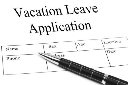 leave: Vacation Application and an pen