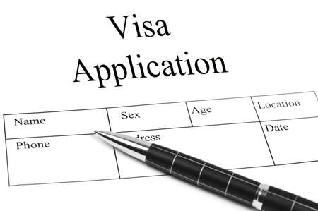 application form: Visa Application and an pen Stock Photo