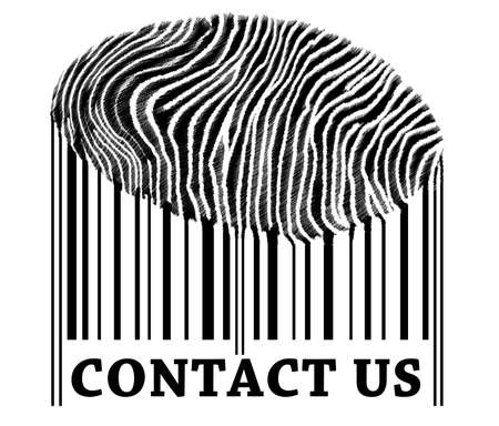 Contact us on barcode with fingerprint photo