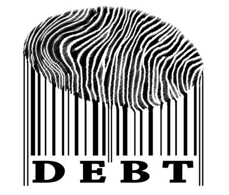 Debt on barcode with fingerprint Stock Photo - 10063391