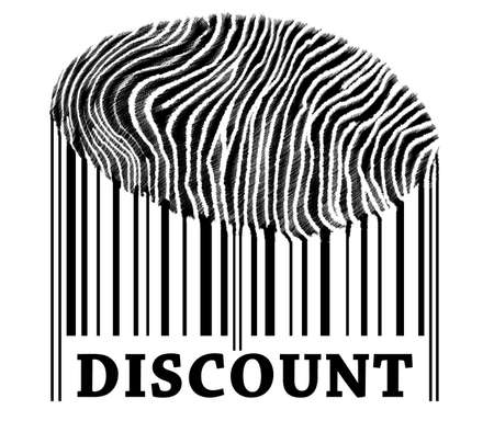 on barcode with fingerprint photo