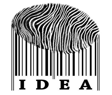 Idea on barcode with fingerprint photo