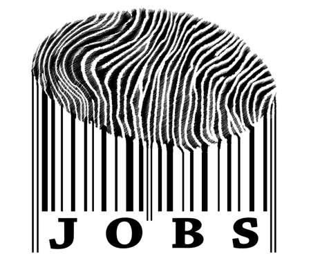 Jobs on barcode with fingerprint photo