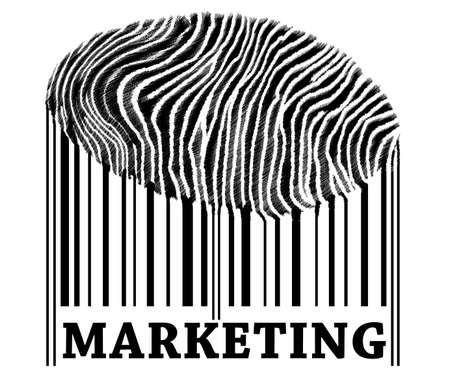 Marketing on barcode with fingerprint photo