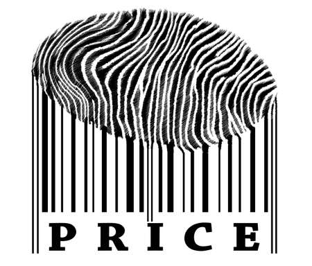 identifier: Price on barcode with fingerprint Stock Photo