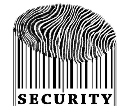 Security on barcode with fingerprint photo